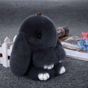 Accessories - Dark Gray Fluffy Bunny Keyring